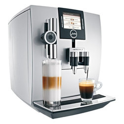 "Jura - Jura Impressa J9 One Touch TFT Automatic Coffee Center - Powerful.15-bar power pump with 1450 watt stainless steel lined ThermoBlock heating system. Fast continuous operation for use at home or in the office. One Touch Technology: Offers an impressive range of specialities at the simple touch of a button: latte macchiato, cappuccino, cafe"" cre""me, espresso, hot water serving. The newly developed micro brewing unit ensures espresso quality of the highest standard. Variable brewing unit - 5g-16g(0.011lb-0.035lb): For individual coffee strength and preparation of two cups in just one brewing operation.Intelligent Pre-Brew Aroma System (I.P.B.A.S.) : To allow the coffee aroma to develop to the full.Bipass Doser: Brew with ground coffee using the doser located on the upper left of the machine. Hot water function: Adds to the range of hot beverages.Conical Burr Grinder: Commercial solid steel conical burr grinder, sound insulated, with 6 fineness settings and a 10 ounce bean container. Electronic bean level sensor never lets you run out of beans, preventing weak coffees. CLEARYL Water Care System. Removes chlorine, lead, aluminum and copper from your tap water for a better tasting coffee. A special organic additive removes almost all calcium and eliminates decalcifying altogether. Electronic CLEARYL cartridge change indicator makes sure that you always have the best water possible. TFT Color display:  For self-explanatory, intuitive operation. You can enjoy a Latte macchiato at the touch of a button; the J9 will produce three perfect layers effortlessly. Plus you can get a cappuccino at the touch of a button; you don't need to move the cup.Coffee e"" la carte The J9 One Tough TFT flatters the palate with coffee e"" la carte in all conceivable variations. With the a la carte button and the rotary dial you can override the coffee strength and cup size just before brewing. The new rotary dial technology also allows you to adjust the strength of the coffee on all beverage buttons while it is grinding as well as adjust the cup size during the brewing cycle. This feature in addition to the interactive TFT selector makes this machine super easy to use.Dual ThermoBlocks: Two separate stainless steel lined ThermoBlock heating systems are always at the ready for coffee and steam. No downtime and no contact with the aluminum.Easy To Maintain: Integrated rinsing, cleaning and descaling program: Hygiene guarantee thanks to machine maintenance at the touch of a button. Integrates cappuccino rinsing and cleaning program: Optimum hygiene and convenience at the touch of a button after frothing or heating milk.Maintenance status display: Shows the cleaning, descaling and filter status and the number of products dispensed.Adjustable water hardness: For descalingthe machine in good time (when CLARIS is not used).Zero-Energy Switch or power switch:  Disconnects the machine from the power supply and avoids using energy on standby.Energy Save Mode (E.S.M.):  Helps to save energy and protect the environment.Powder recognition for additional ground coffee variety:  Product is dispensed immediately after filling with the coffee powder.Fully Programmable:  Programmable coffee strength levels (5); enjoy the perfect coffee to suit your personal taste. Coffee strength can be adjusted for each preparation; enjoy the perfect coffee to suit your personal taste. Programmable brewing temperature levels (2); it can be adjusted to suit you personal preference. Hot water temperature can be programmed to 3 levels; perfect for the tea of your choice. Programmable amount of water; to suit the size of your cup. Programmable switch off time; the machine is ready when you need it.Flexibility:  Amount of water can be adjusted for each preparationIntelligent preheating:  For hot coffee from the first cup.Integrated storage compartment:  The hot-water nozzle and measuring spoon are always to hand.Cup Brewing Illumination: A little light shines down for added visibility.Adjustable coffee spout: Height-adjustable coffee spout - 65mm-111mm(2.56""-4.37""): Adjustable to suit your cups. Width-adjustable coffee spout - 20mm-50mm(0.79""-1.97""): Adjustable to suit your cups. Height-adjustable cappuccino spout - 110mm-153mm(4.33""-6.02""): Adjustable to suit your cups."