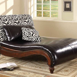 Coaster - Multi Color Transitional Chaise - A very stylish addition to any home that is sure to get the attention of guests. This chaise is accented by a zebra pattern back and its curved shaped footing compliments its fashionable look. Accent pillows are included.