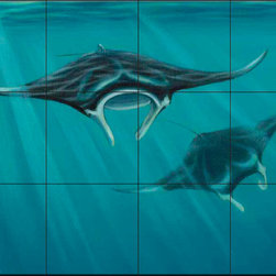 The Tile Mural Store (USA) - Tile Mural - Sh - Dive - Kitchen Backsplash Ideas - This beautiful artwork by Setsuo Hamanaka has been digitally reproduced for tiles and depicts a closeup of some rays  Our tiles with sea turtles are a great way to add something unique to your kitchen backsplash tile project. Make your tub and shower surround bathroom tile project exceptional with one of our decorative tile murals of sea turtles. Decorative tiles with turtles are beautiful and timeless and will never go out of style. Make a seaturtle tile mural part of your bathroom wall tile and enjoy this tile mural every day in your newly renovated bathroom.