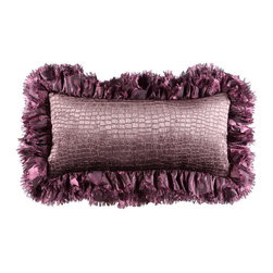 Brandi Renee Designs - Purple Ruffled Crocodile Lumbar Pillow - Whether you're looking for a seasonal update or new interior accessory, this lavish pillow will do the trick. This lumbar cushion has a polyfill insert that is sure to provide ample comfort and support. It is covered in a velvety soft purple croc embossed fabric with a ruffled purple trim. This elegant accent is sure to transform any living space for the better.