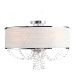 Crystorama - Crystal 5 Light Down Lighting Single Tier ChandelierAllure Collection - The Allure collection takes a beautiful polished chrome frame draped with crystal chains and finishes it with a silk geometric white shade, for a look that is both modern and retro.