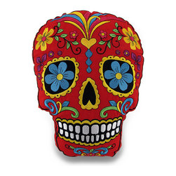 Zeckos - Red and Yellow Brightly Colored Embroidered Sugar Skull Accent Pillow - Fright on! This decorative sugar skull shaped accent pillow will bring some attitude while adding a punch of color to your space whether it's tossed on the bed, thrown in a chair or highlighting your sofa. This pillow features brightly colored beautifully embroidered sugar skull design on the red 100% cotton cover boasting a yellow jersey knit backing, and is 100% polyester fiber filled. It's great for lounging on at 14 inches long by 11 inches wide (36 X 28 cm) while watching your favorite movie, reading or just as an addition to your Dia De Muertos decor collection, and is great as a gift for a sugar skull lover sure to be enjoyed!