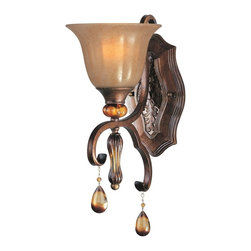 Maxim Lighting - Maxim Lighting Dresden Traditional Wall Sconce X-LFME17222 - This Maxim Lighting Dresden Traditional Wall Sconce is a piece with Old World charm. It features a frame in a Filbert finish with a gently scrolled arm, an ember glass shade and amber crystal pendants. It's a beautiful fixture which may be mounted up or down, and one that will surely stand out in any room.