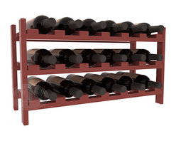 18 Bottle Stackable Wine Rack in Pine with Oak Stain + Satin Finish - Expansion to the next level! Stack these 18 bottle kits as high as the ceiling or place a single one on a counter top. Designed with emphasis on function and flexibility, these DIY wine racks are perfect for young collections and expert connoisseurs.