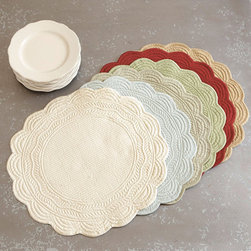 Ballard Designs - Marseille Quilted Round Placemats - Set of 4 - Machine washable. Imported. Available in six vibrant colors. Enjoy seasonal dining and brighten the table with our favorite springtime colors. We priced our classic, quilted cotton round place mats and coordinating napkins so you can afford to mix and match your favorite colors. Add a single letter monogram to the napkins for free.Marseilles Placemat features:.  . .