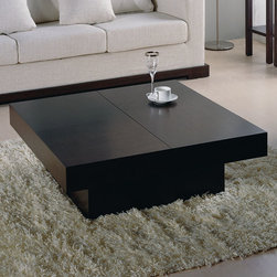 Beverly Hills Furniture Inc. - Nile Square Storage Coffee Table in Wenge - Wood veneer Nile Square Storage Coffee Table in Wenge - Beverly Hills Furniture Inc. represents the convergence of style, quality and functionality! The interior storage space is fully veneered, allowing for years of regular use. It features smooth ball-bearing release mechanism for easy one-handed operation.