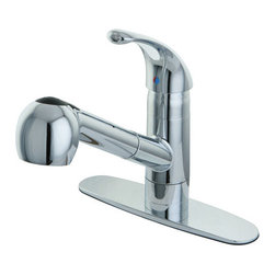 Kingston Brass - Century Single Handle Pull-Out Spray Kitchen Faucet, Chrome - The long rotund cylindrically-shaped spout and the duck-shaped lever describes the contemporary style of the Century pull out kitchen faucet.