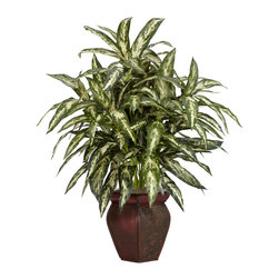 Nearly Natural - Aglonema w/Decortaive Vase Silk Plant - No matter how you word it, this is one spectacular explosion of greenery! From its multi-colored leaves that seem to shower down from every possible angle, to its striking composition, this Aglaonema is great for any home or office environment, or anywhere else you can think of for that matter. Complimented by a fantastic two-tone vase, this is one silk plant where you simply can't go wrong!