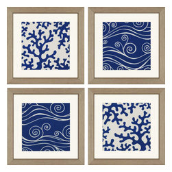 Paragon - Ocean Motifs PK/4 - Framed Art - Each product is custom made upon order so there might be small variations from the picture displayed. No two pieces are exactly alike.