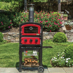 Alfresco Home - Fornetto Wood Fired Pizza Oven and Smoker - Red Multicolor - 82-PZ-5WT-SRSS - Shop for Pizza Ovens from Hayneedle.com! Wood-fired pizza is on! Enjoy fresh homemade pies anytime when the Fornetto Wood Fired Oven & Smoker - Red is at your disposal. This oven is solid sporting top-to-bottom stainless stainless steel construction. And its spacious fire chamber comes equipped with ceramic bricks and a pizza stone to ensure maximum heat retention. Designed to warm quickly this outdoor oven reaches optimal baking temperature in minutes. Adjustable ventilation controls allow precision cooking. Ample shelving and a detachable smoker chip box expand the oven's versatility letting you smoke roast or bake everything from cookies to pizza meats to pies. Additional Information Ventilation control valves adjust temperature within heat chamber Includes temperature gauge smoker valves ceramic bricks all-weather cover Stainless steel condiment basket lift-up side table wood storage basket expand surface and storage space Discreet trolley handles all easy portability Easy-clean design About Alfresco HomeOffering a wide selection of fashionable products from casual furniture and garden lighting to permanent botanicals and seasonal decor Alfresco Home casual living products offer a complete line of interior and exterior living furnishings and accents. Based out of King of Prussia Penn. Alfresco Home continues to blend indoor and outdoor furniture to create a lifestyle of alfresco living inside and outside of the home. Inlaid mosaic tabletops fine hardwood furnishings artisan-inspired accents premium silk botanicals and all-weather wicker sets are just a few examples of the kind of treasures you'll find in Alfresco's specially designed collections.