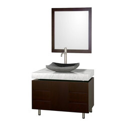 Wyndham Collection - Carrera Top Vanity with Black Granite Sink - Includes matching mirror. Faucets not included. One door and six drawers. 4 in. deep floating counter. Brushed steel finish legs and counter supports. Single-hole faucet mount. Soft-close concealed door hinges. Fully-extending under-mount soft-close drawer slides. Deep doweled drawers. Floor-standing vanity. Eight stage painting and finishing process. Made from veneers and high quality MDF. Espresso finish. Minimal assembly required. Vanity: 36.13 in. W x 22.07 in. D x 30 in. H. Sink: 5.5 in. H. Mirror: 30 in. W x 1 in. D x 33 in. H. Handling InstructionsThe Malibu 36 in. Bathroom Vanity is a featured item from the Wyndham Collection Designer Series by Christopher Grubb. The beautiful floating counter and clean lines of this vanity are quite stunning, with the legs appearing to pierce right through the cabinet to the floor, yet it's surprisingly affordable. Each counter is custom made to order.