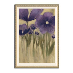 MonDeDe - Summer Bloom I - This field of violet flowers in bloom will look so fresh on your wall. With this elegant botanical beauty in your home or work space, you'll feel the inspiration a summer breeze, every time you look up at this wood framed, archival paper print.