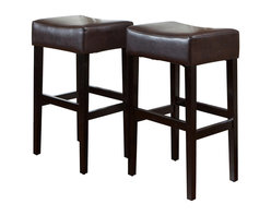 Great Deal Furniture - Duff Backless Brown Leather Bar Stool, Set of 2 - The bar has been raised: These are not your basic bar stools. Each one is built with natural hardwood in a handsome espresso finish, and offers a cushioned seat covered in smooth leather. Your soon-to-be favorite seat at the bar (or counter or kitchen island) is waiting for you.