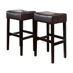 Great Deal Furniture - Duff Backless Brown Leather Bar Stool (Set of 2) - The bar has been raised: These are not your basic bar stools. Each one is built with natural hardwood in a handsome espresso finish, and offers a cushioned seat covered in smooth leather. Your soon-to-be favorite seat at the bar (or counter or kitchen island) is waiting for you.
