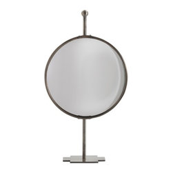 Arteriors - Garbo Mirror/Stand, Bronze, Large - Looking like a globe on a stand, this adjustable tabletop mirror will add an interesting element to your bath or makeup table. Finished in antique bronze, it sits on a coordinating stand demanding its closeup.