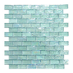 "Distinctive Glass Tile - Mosaic Brick Light Blue Iridescent 12"" x 12"" Film Faced -"