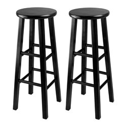 """Winsome Wood - Winsome Wood Obsidian Accent Chair Set of 2 X-03202 - The set comes with 2 bar stools, essential and stylish black 29"""" Assembled Stool with square legs.  Perfect for extra seating.  Overall size is 13.60"""" x 13.60"""" x 24.2""""H . Solid wood in black finish."""