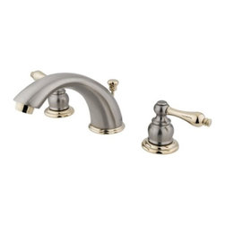 "Kingston Brass - Two Handle 8"" to 16"" Widespread Lavatory Faucet with Retail Pop-up KB979AL - Two Handle Deck Mount, 3 Hole Sink Application, 8"" to 16"" Widespread, Fabricated from solid brass material for durability and reliability, Premium color finish resists tarnishing and corrosion, 1/4 turn On/Off water control mechanism, 1/2"" IPS male threaded inlets with rigid copper piping, Duraseal washerless cartridge, 2.2 GPM (8.3 LPM) Max at 60 PSI, Integrated removable aerator, 5-3/4"" spout reach from faucet body, 4"" overall height.. Manufacturer: Kingston Brass. Model: KB979AL. UPC: 663370001567. Product Name: Two Handle 8"" to 16"" Widespread Lavatory Faucet with Retail Pop-up. Collection / Series: Victorian. Finish: Satin Nickel/Polished Brass. Theme: Classic. Material: Brass. Type: Faucet. Features: Drip-free washerless cartridge system"