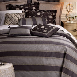 SFERRA - SFERRA Two Extra Standard Pillowcases, Mono. - Exclusively ours. These wonderful 600-thread count, tone-on-tone, long-staple cotton striped sateen sheets are a perfect compliment to any bed. From Sferra, they are sold in sets with flat and fitted sheets and pillowcases. Now available with monogram...