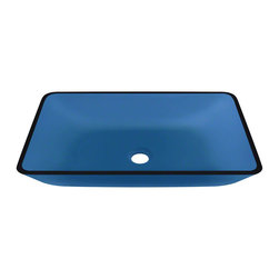 """MR Direct - MR Direct 640 Aqua Coloured Glass Vessel Bathroom Sink - The 640-Aqua Colored Glass Vessel Sink is manufactured using fully tempered glass, which is non-porous, easy to clean and resistant to stains and odors. This rectangular vessel sink is made with blue-tinted glass, which will add a pop of color to any bathroom. A corresponding Glass Waterfall Faucet is available with this sink, which includes a matching disc and your choice of chrome, brushed nickel or oil rubbed bronze faucet. The overall dimensions for the 640-Aqua are 22 3/8"""" x 14 1/4"""" x 4 1/4"""" with a 24"""" minimum cabinet size. As always, our glass sinks are covered under a limited lifetime warranty for as long as you own the product."""