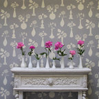 """Vintage Vases Allover Floral Stencil - From Royal Design Studio: Bring back the romance with the Vintage Vases allover floral wall stencil from the Bonnie Christine Stencil Collection. This unique and """"Granny Chic"""" allover floral stencil allows you to create a custom wallpaper look on a feature wall or whole room. You can even use the individual floral vase elements individually for craft stencil projects, on pillow, furniture, and more."""