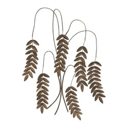 "IMAX - Meyeul Champagne Leaf Wall Hanger - Slender, willowy stems sprout wrought iron leaves in this elegant, nature-inspired wall sculpture. Item Dimensions: (27""h x 19""w x 1"")"
