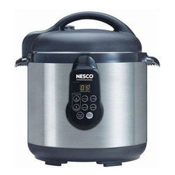 Metal Ware Corp. - Nesco 6 Liter Electric Pressure Cook - This Nesco 6 Liter Stainless Steel pressure cooker also functions as a Slow Cooker and a Steamer! Operated with a programmable digital timer that can be set to delay cooking up to eight hours.  Ideal for making healthy & delicious home made soups, stews and chili.  Fish, chicken, and vegetables cook to perfection in minutes.  Pressure cooking preserves flavors and nutrients, and speed cooks inexpensive cuts of meat into great tasting meals.  Set includes: 6 Liter pressure cooker with removeable non-stick chamber, steam rack, and instruction manual/recipe book.