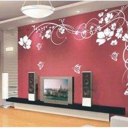 ColorfulHall Co., LTD - Flower with Butterfly Wall Art Large Floral Wall Decals Flower Wall Decals - You will find hundreds of affordable peel - and - stick wall decal designs, suitable for all kinds of tastes and every room in your house, including a children's movie theme, characters, sports, romantic, and home decor designs from country to urban chic. Different from traditional decals, vinyl wall decals is with low adhesive that allows you to reposition as often as you like without damaging the paint. Application is easy: peel offer the pre-cut elements on the design with a transfer film, and then apply it to your wall. Brighten your walls and add flair to your room is just as easy.