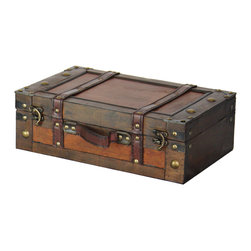 "Quickway Imports - Old Style Suitcase With Stripes - Small - Size: 13"" x 8.5"" x 4.5"""