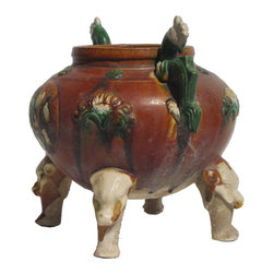 Golden Lotus - Unique Chinese Antique Clay Pottery Hand Made Pot Display - This is a pottery pot which is made of clay.