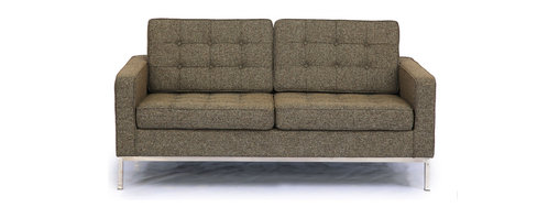 Kardiel Florence Knoll Style Loveseat, Oatmeal Houndstooth Twill - The Florence Knoll Sofa, Chair and Loveseat is a design icon. The original design was conceived in 1956 by Florence Knoll, a world class architect and designer. It is a relatively simple design as it was originally meant to complement the classic innovations of Saarinen and Bertoia. The Knoll philosophy of furniture design solves practical and aesthetic design problems. The philosophy results in minimalist beauty, lasting durability and luxurious comfort in one complete package. It is well known that Knoll studied and collaborated with Mies Van Der Rohe. Knoll designed the classic trio using a durable stainless steel frame with minimal materials. Cubic cushions featuring compressed buttons in a purposeful and logical layout provide style and comfort to the supporting thin armed, minimalist frame. Do you notice the similarities in design philosophy to the Mies Van der Rohe's Barcelona Chair? The Knoll Sofa, Love and Chair is becoming even more popular as its minimalist yet functional de
