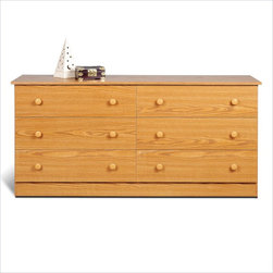 Prepac - Prepac Six-Drawer Double Dresser in Oak Finish - Prepac - Dressers - OBD58286K - The always popular six-drawer dresser design is the standard for any bedroom providing plenty of clothing storage and a large surface area for perfume toiletries photographs and decorative items. Simple and effective it will add functionality to your decor.