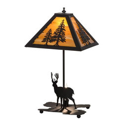 Meyda - Meyda Tiffany Lone Deer Lighted Base Multi-Color Table Lamp - Meyda Tiffany was founded when Meyer Cohen was asked by his wife Ida (whose names were combined into the company name Meyda) to build a stained glass window in their kitchen so they wouldn't have to look at the vintage cars in their neighbor's driveway. What began as a hobby evolved into America's leading and oldest manufacturer of custom and decorative lighting. Today Meyda is still a family-run business with the Cohens' son Robert at the helm. Features include Theme: Rustic Mission Lodge Art Glass Animals Family: Lone Deer Every Meyda Tiffany item is a unique handcrafted work of art. Natural variations in the wide array of materials that they use to create each Meyda product make every item a masterpiece of its own. Photographs are a general representation of the product. Colors and designs will vary.. Specifications Number Of Bulbs: 1 + 1 Bulb Wattage: 60 + 25 Bulb Type: Medium Base + Candelabra Base.