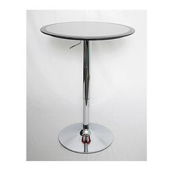 Lumisource - Round Bar Table w Ribbon Trim - Silver fiberglass table features colored rim accent. Hydraulic lever adjusts table from 26 to 41 inches in height. Polished chrome base. 25.5 Diameter x 26-41 H. (30 lbs.)
