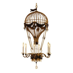 """Inviting Home - Air-balloon chandelier in antiqued goldleaf - Air-balloon chandelier in antiqued gold leaf and Swarovski crystal; 22"""" x 42-1/2""""H; hand-crafted in Italy; Six-light hand-wrought iron chandelier with air-balloon motif. Chandelier has Swarovski crystal drops and beaded assents. Chandelier finished in antiqued gold-leaf and rubbed antiqued brown accents. This wrought iron chandelier is hand-crafted in Italy. UL approved - dry location; hardwire; 6x 60W max. candelabra bulds; bulbs not included. Approx. 6 feet of chain/wire drop provided. Handcrafted in Italy."""