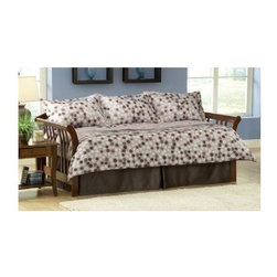 Leggett/Platt Fashion Bed - Finn 5 Pc Daybed Ensemble - Includes comforter, bed skirt and three standard shams. Deep quilted comforter with 16 ozs. hand-packed bonded fiberfill. Shams with envelope style closure. Comforter has layered pleats adding depth and texture. Taupe background displays varied pattern of circles in light blue, chocolate brown and beige. 15 in. drop bed skirt. Made from 100% polyester. Comforter: 55 in. L x 97 in. W