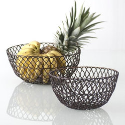 Home Decorators Collection - Crochet Wire Bowl - This beautifully crafted Crochet Wire Bowl is decorative and functional. The crochet pattern and copper finish make it a lovely table accent and a practical fruit bowl. Set it on any table in your home; this wire bowl holds whatever you like. Makes a great centerpiece to any table or a bread or fruit basket. Made of recycled metal in copper finish.