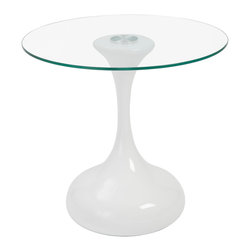 Euro Style - Sheila Side Table - High Gloss White/Clear - Ladies and gentleman, Pandora has landed. All tempered glass, this amazing combination of flats and curves guarantees this piece will be futuristic forever. And yes that is an oxymoron.