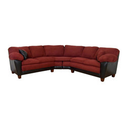 Chelsea Home - James 2-Pc Sectional Sofa in Bulldozer Burgun - Includes toss pillows. Seating comfort: Medium. Hardwood frame and engineered wood products. Seat cushion is attached. Seat back cushion is attached. Seat cushion is not reversible. No sag sinuous spring system used to maintain a uniform seating area. Dacron wrapped 1.5 density foam cushions. Made from polyester, PVC blend and hardwood. Bulldozer burgundy color. Made in USA. No assembly required. 73 in. L x 35 in. W x 38 in. H (270 lbs.)