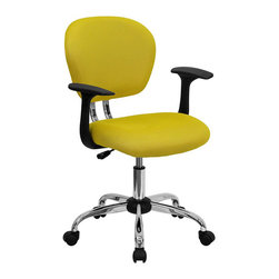 Flash Furniture - Flash Furniture Mid-Back Mesh Task Chair with Arms in Yellow - Flash Furniture - Office Chairs - H2376FYELARMSGG - This value priced mesh task chair will accommodate your essential needs for your home or office space. This chair will add a splash of color to your office for a non-traditional look. Chair features a breathable mesh material with a comfortably padded seat.