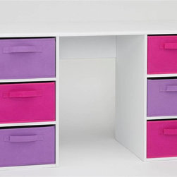4D Concepts - Girl's Student Desk in White - Any little girl will appreciate this desk's versatile function and smart, exciting style. Functional desk features wood frame with PVC laminate, white finish and six folding canvas drawers in both pink and lavender color. Rolled edges show meticulous attention to detail. Great choice for any child's room. White finish. Desk surface is a vacuum formed surface with gently rolled edges. Pink and lavender large folding canvas drawers give plenty of storage. Drawers rest gently on the shelf. Handles on both sides of the drawer for pulling out of the unit, or pulling completely out. Constructed of Composite Board and highly durable PVC laminate. Clean with a dry non abrasive cloth. Some assembly required. 48 in. W x 20 in. D x 28 in. H
