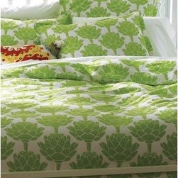 Artichokes Comforter Cover and Sham - Hmmm, no matter how much I brainstormed, I'm quite sure I would not have come up with the idea of artichokes on my duvet cover. However, it's so cute it's genius.