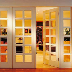 4 panel room divider with beveled edged glass inserts Interior pocket doors with glass inserts