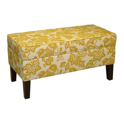 Skyline Furniture - Gold Storage Bench - Polyurethane foam fill. 100% polyester upholstery. Made from premier solid wood. Made in USA. Assembly required. Interior: 7 in. H x 16.5 in. W x 36.5 in. L. 38.5 in. L x 18.5 in. W x 19.5 in. H (38 lbs.)