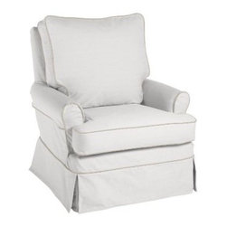 Serena & Lily - Hayes Glider - A higher back and rounded armrests make Hayes ideal for dads; the more generous size makes for years of snuggling up for bedtime stories as little ones grow. Made in the USA with durable wood frames, swivel glider bases and plush double-wrapped foam-core cushions for ultimate comfort.