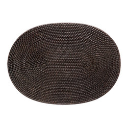 KOUBOO - Oval Rattan Placemat in Espresso, Set of 2 - This rattan placemat is hand woven in a tight, intricate weave initially created in the Philippines to ensure durability and beautiful longevity. Finished with a coating of lacquer in dark-brown for easy clean-up, this rectangular rattan placement is a beautiful addition to your table for family and guests alike.