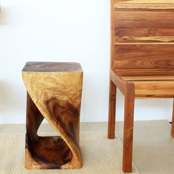 Wooden Hand-carved Walnut Oil Twist Stool - I really think this style of this stool works in any modern home.