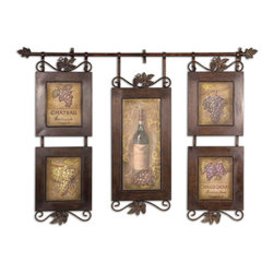 Uttermost - Hanging Wine Wall Decor - This hanging collage features oil reproductions with a hand applied brushstroke finish