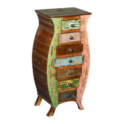 Sierra Living Concepts - Reclaimed Wood Rustic Novelty Bombe Chest 6 Drawer Dresser - ,Invite a little Wonderland into your home with our playful Vase Shaped Reclaimed Wood Rustic Novelty Bombe Chest 6 Drawer Dresser End Table. This could be used by the March Hare for his cuff links, the White Rabbit for his watches, or for any of your treasures. This whimsical night stand has seven colorful little drawers set into a shapely frame. The solid wood novelty end table is built with reclaimed wood from Gujarat. All the surfaces have their original treatments, no extra paints or stains are added.
