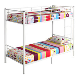 Walker Edison - Twin Metal Bunk Bed - White - Beloved for its compact foot print, this bunk bed is a necessity for your children's bedroom. The sturdy, steel frame promises stability and function to support up to 250 pounds on each bunk. Features full length guardrails and an integrated ladder that can be mounted on either end. This ideal space-saver, unlike other bunk beds, easily and safely converts into two individual twin beds.